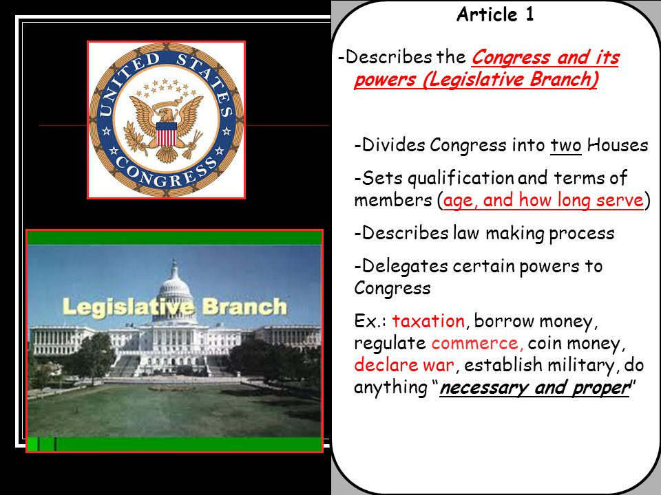 Article 1 -Describes the Congress and its powers (Legislative Branch) -Divides Congress into two Houses -Sets qualification and terms of members (age,