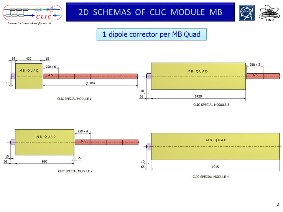 3 JINR Alexandre.Samochkine @ cern.ch DIPOLE CORRECTOR  computation by magnet engineer to investigate a design compatible with the MB quadrupoles (as compact as possible, possibly partially nested into the coils heads) is under way.