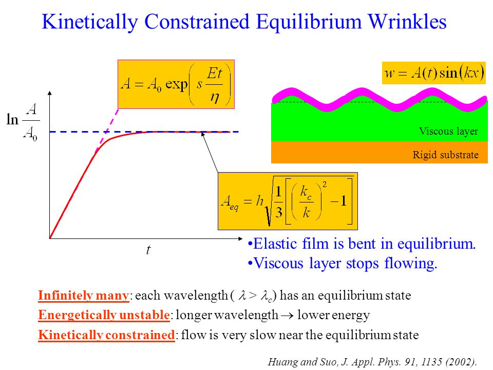 Kinetically Constrained Equilibrium Wrinkles Infinitely many: each wavelength ( > c ) has an equilibrium state Energetically unstable: longer wavelength  lower energy Kinetically constrained: flow is very slow near the equilibrium state Elastic film is bent in equilibrium.
