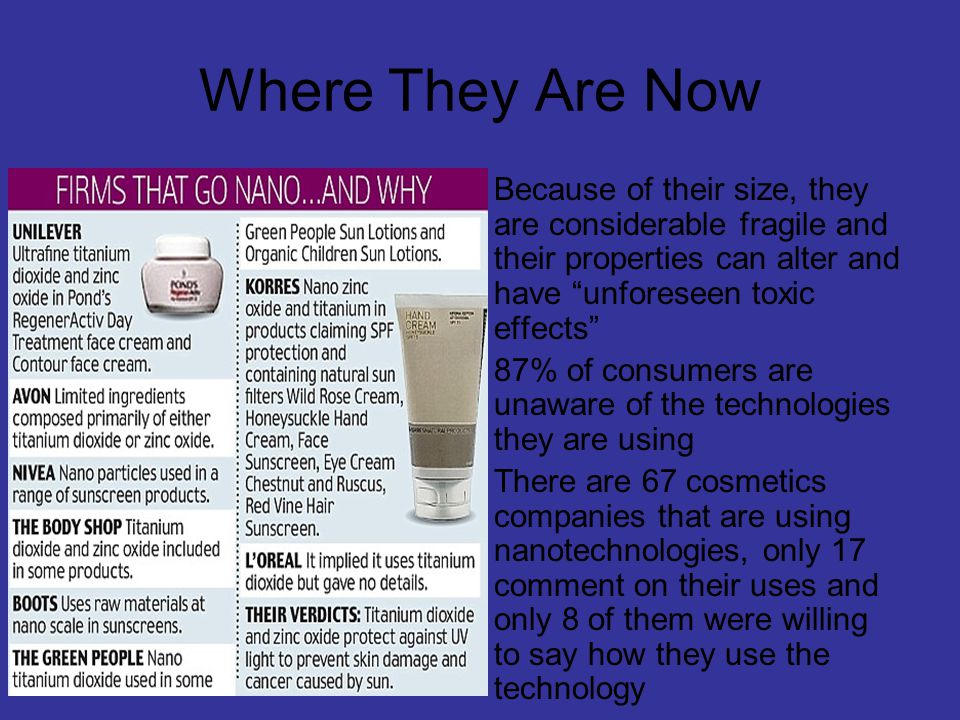 Where They Are Now Because of their size, they are considerable fragile and their properties can alter and have unforeseen toxic effects 87% of consumers are unaware of the technologies they are using There are 67 cosmetics companies that are using nanotechnologies, only 17 comment on their uses and only 8 of them were willing to say how they use the technology