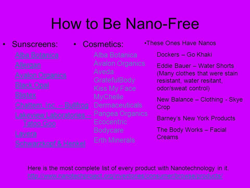 How to Be Nano-Free Sunscreens: Alba Botanica Allergan Avalon Organics Black Opal Blistex Chattem, Inc.