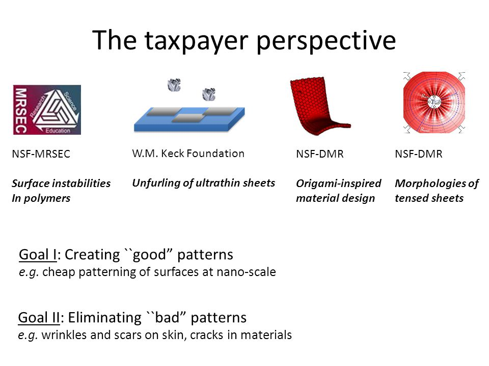 The taxpayer perspective NSF-MRSEC Surface instabilities In polymers W.M.