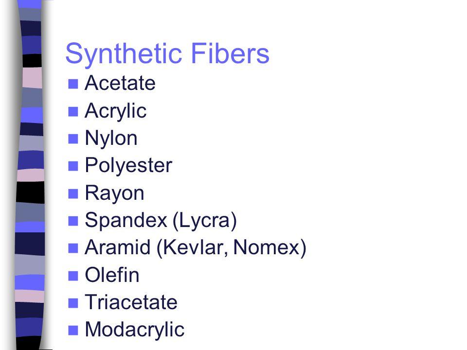 Synthetic Fibers Acetate Acrylic Nylon Polyester Rayon Spandex (Lycra) Aramid (Kevlar, Nomex) Olefin Triacetate Modacrylic