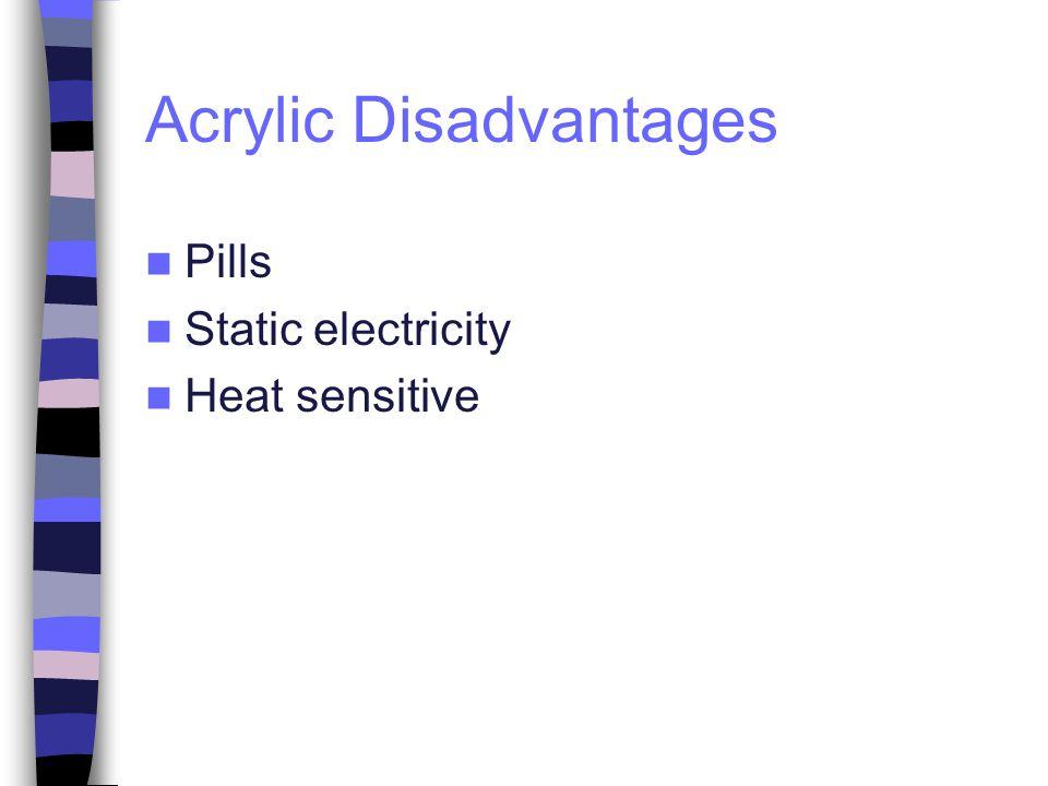Acrylic Disadvantages Pills Static electricity Heat sensitive