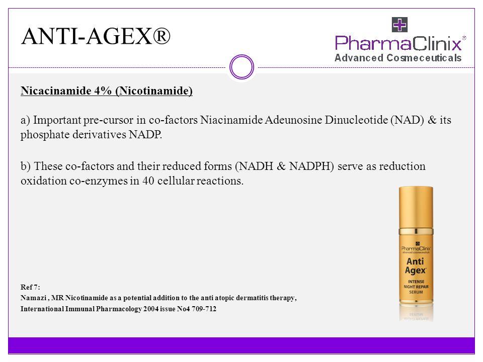 ANTI-AGEX® Nicacinamide 4% (Nicotinamide) a) Important pre-cursor in co-factors Niacinamide Adeunosine Dinucleotide (NAD) & its phosphate derivatives