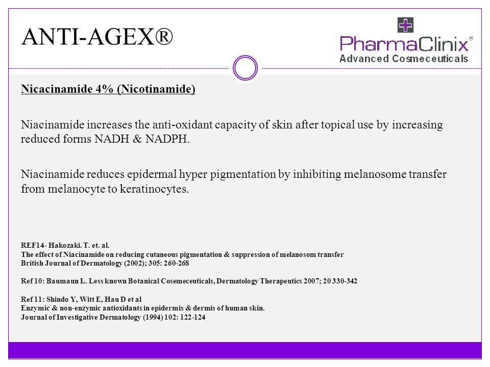 ANTI-AGEX® Nicacinamide 4% (Nicotinamide) Niacinamide increases the anti-oxidant capacity of skin after topical use by increasing reduced forms NADH &