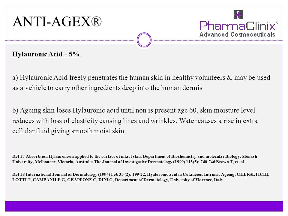ANTI-AGEX® Hylauronic Acid - 5% a) Hylauronic Acid freely penetrates the human skin in healthy volunteers & may be used as a vehicle to carry other in