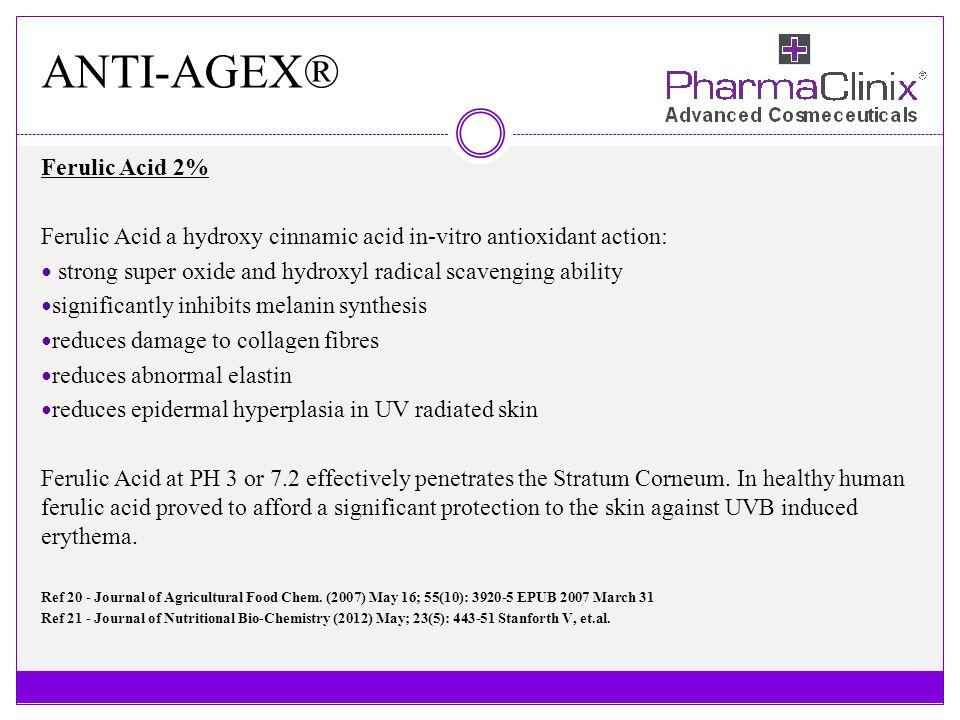 ANTI-AGEX® Ferulic Acid 2% Ferulic Acid a hydroxy cinnamic acid in-vitro antioxidant action: strong super oxide and hydroxyl radical scavenging abilit