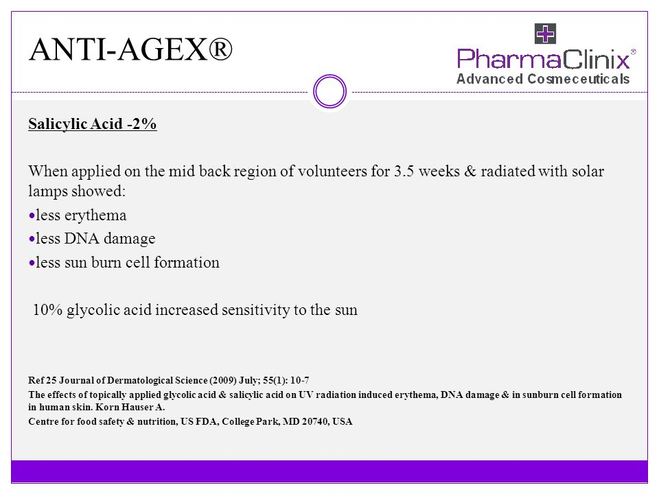 ANTI-AGEX® Salicylic Acid -2% When applied on the mid back region of volunteers for 3.5 weeks & radiated with solar lamps showed: less erythema less D