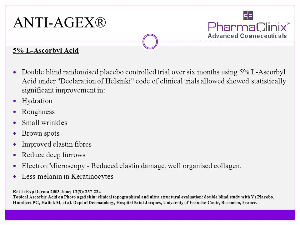 ANTI-AGEX® 5% L-Ascorbyl Acid Double blind randomised placebo controlled trial over six months using 5% L-Ascorbyl Acid under