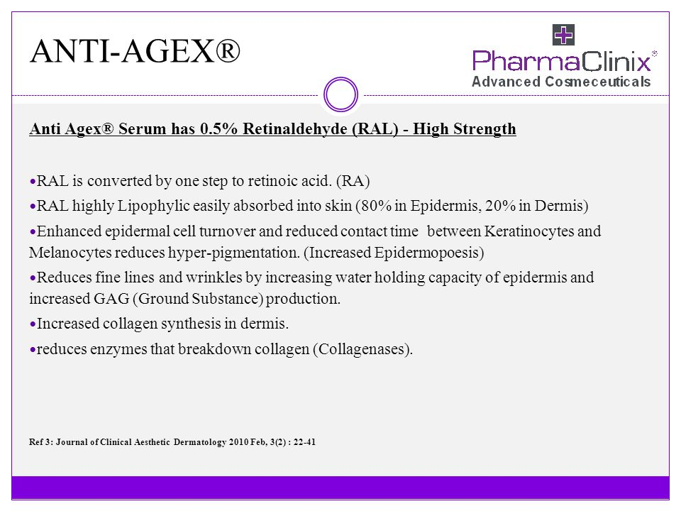 ANTI-AGEX® Retinaldehyde the best retinoid - 0.5% Retinaldehyde has the best scientific evidence supporting its efficacy in reducing the signs of symptoms of ageing.