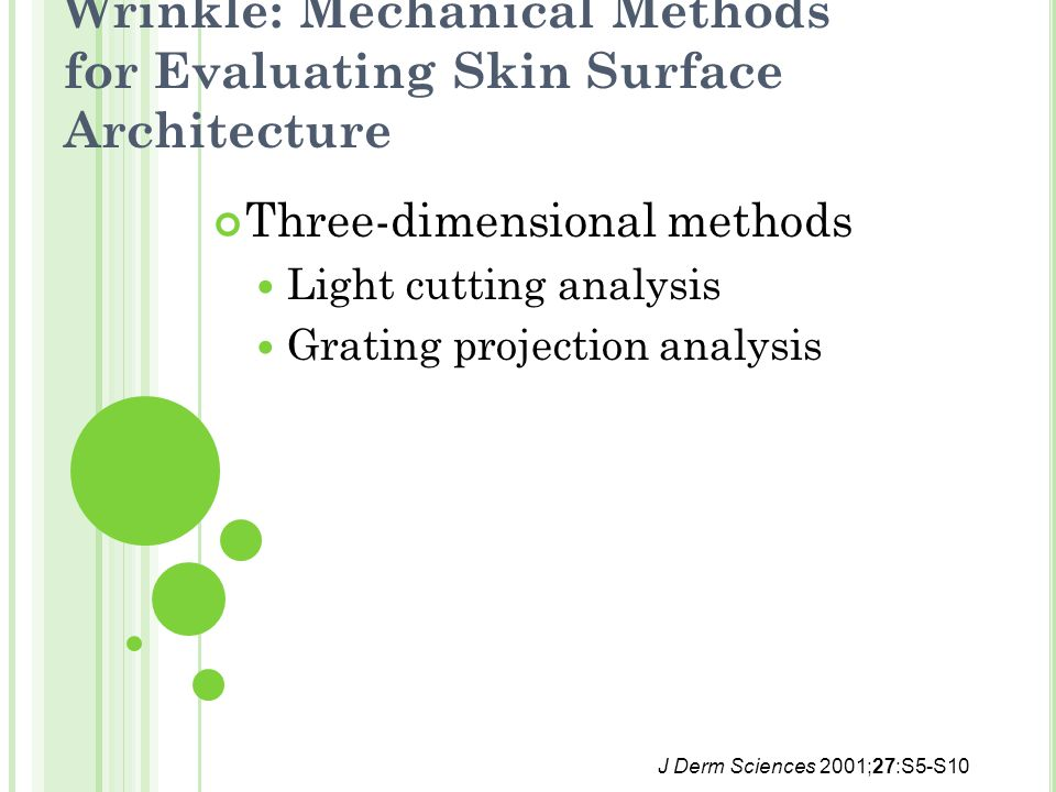 Wrinkle: Mechanical Methods for Evaluating Skin Surface Architecture Three-dimensional methods Light cutting analysis Grating projection analysis J Derm Sciences 2001;27:S5-S10