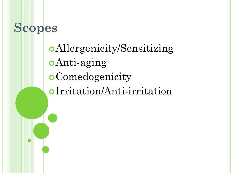 Scopes Allergenicity/Sensitizing Anti-aging Comedogenicity Irritation/Anti-irritation