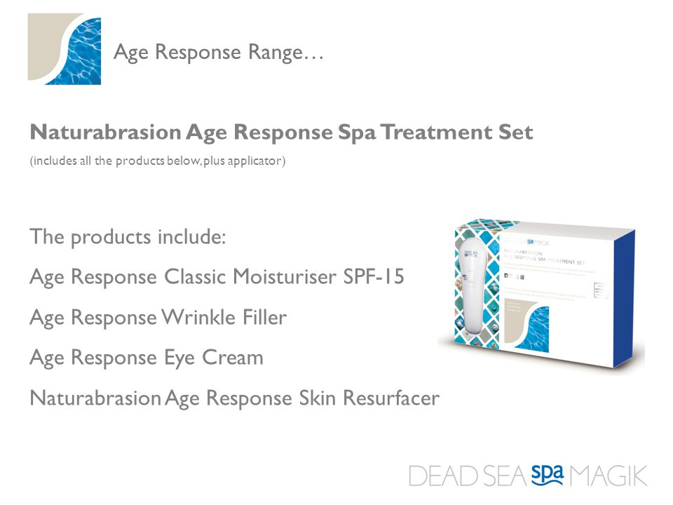 Naturabrasion Age Response Spa Treatment Set (includes all the products below, plus applicator) The products include: Age Response Classic Moisturiser