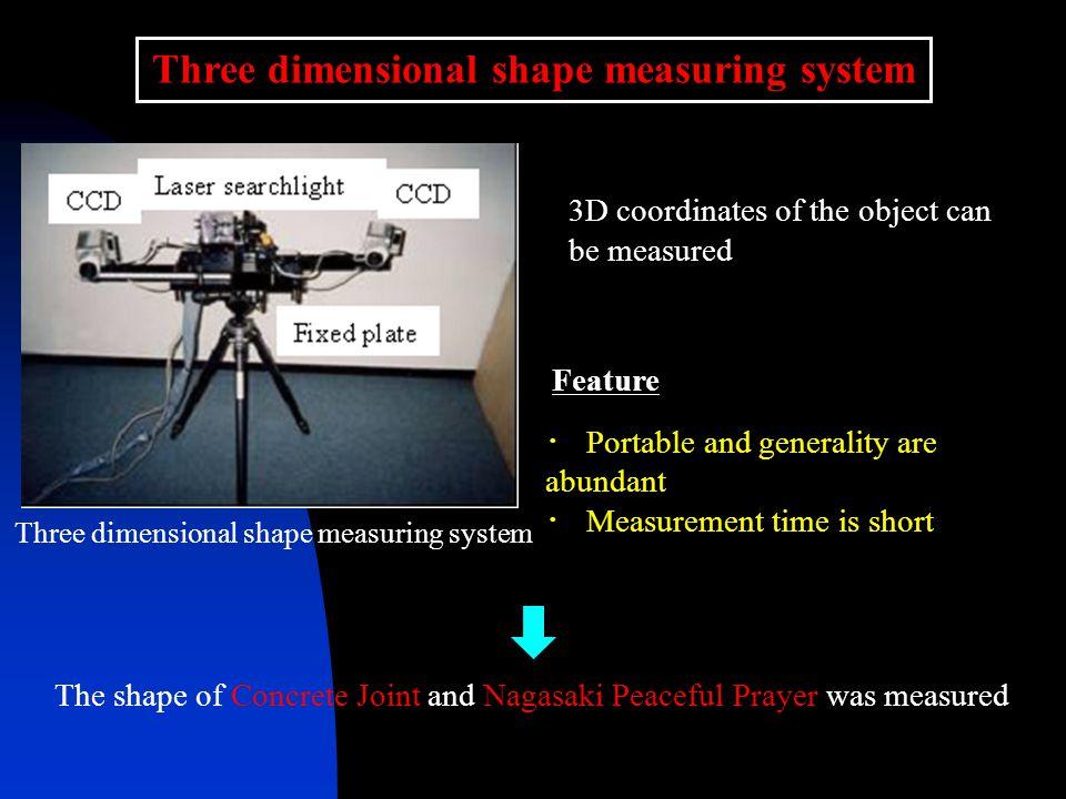 Shape measurement of Concrete Joint Concrete Joint3D shape data Detailed 3D coordinates of Concrete Joint surface was obtained