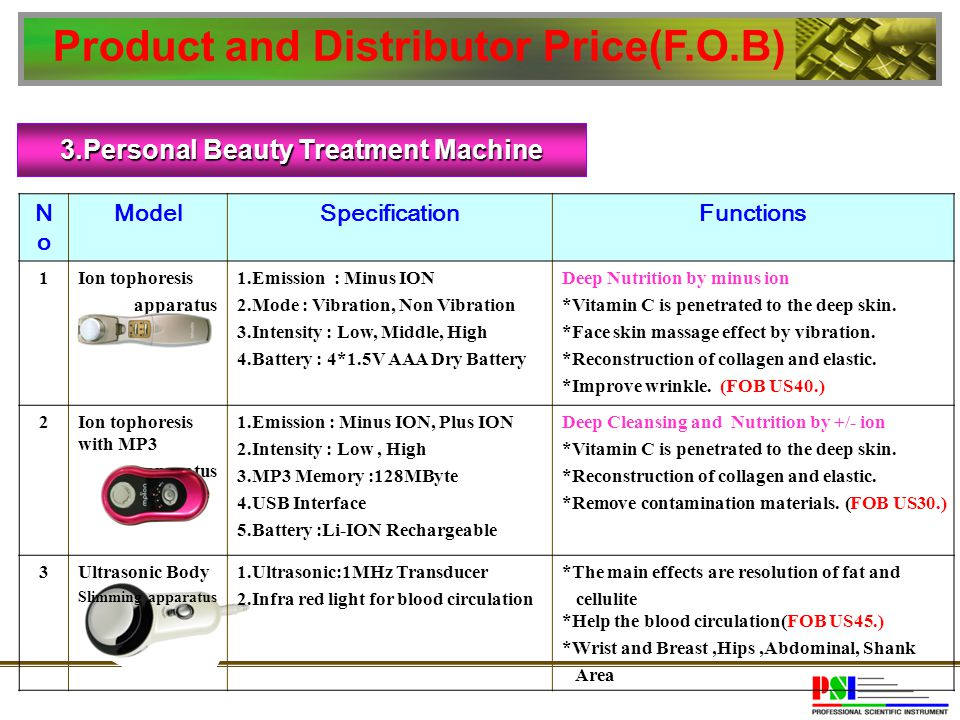 3.Personal Beauty Treatment Machine NoNo ModelSpecificationFunctions 1Ion tophoresis apparatus 1.Emission : Minus ION 2.Mode : Vibration, Non Vibratio