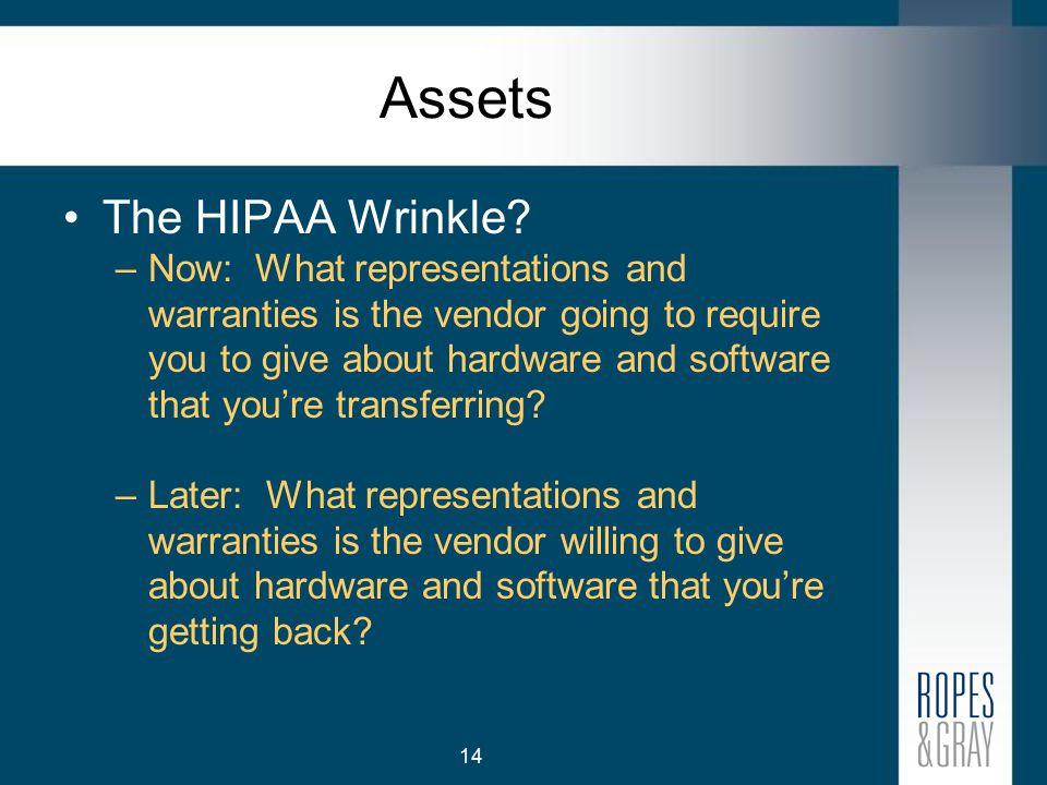 14 Assets The HIPAA Wrinkle.