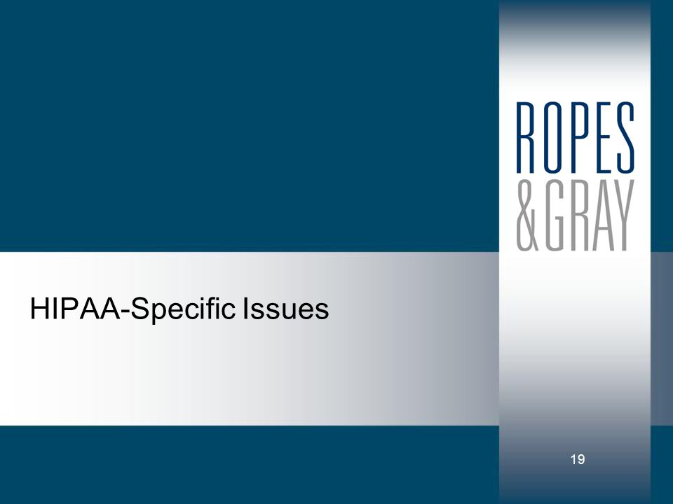 19 HIPAA-Specific Issues