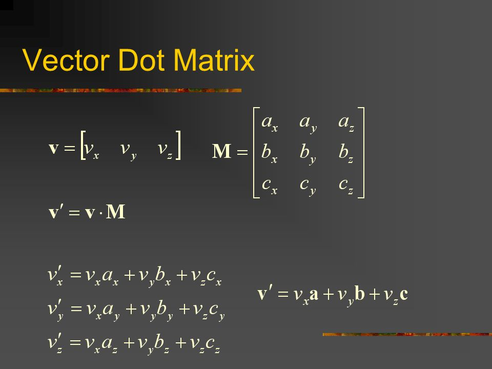 Matrix Dot Matrix (4x4) The row vectors of M' are the row vectors of M transformed by matrix N Notice that a, b, and c transform as direction vectors and d transforms as a position