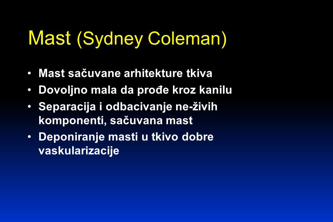 Mast (Sydney Coleman) Mast sačuvane arhitekture tkiva Dovoljno mala da prođe kroz kanilu Separacija i odbacivanje ne-živih komponenti, sačuvana mast Deponiranje masti u tkivo dobre vaskularizacije