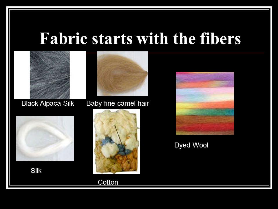 Fabric starts with the fibers Black Alpaca SilkBaby fine camel hair Silk Cotton Dyed Wool