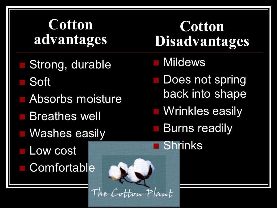 Cotton advantages Mildews Does not spring back into shape Wrinkles easily Burns readily Shrinks Strong, durable Soft Absorbs moisture Breathes well Wa