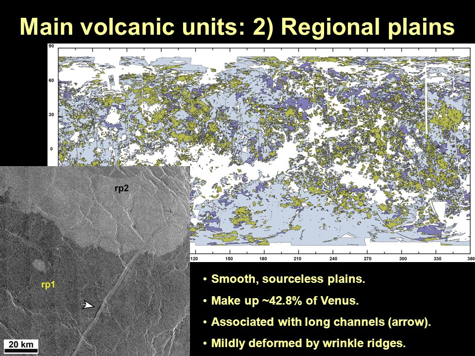 Main volcanic units: 2) Regional plains Smooth, sourceless plains. Make up ~42.8% of Venus. Associated with long channels (arrow). Mildly deformed by