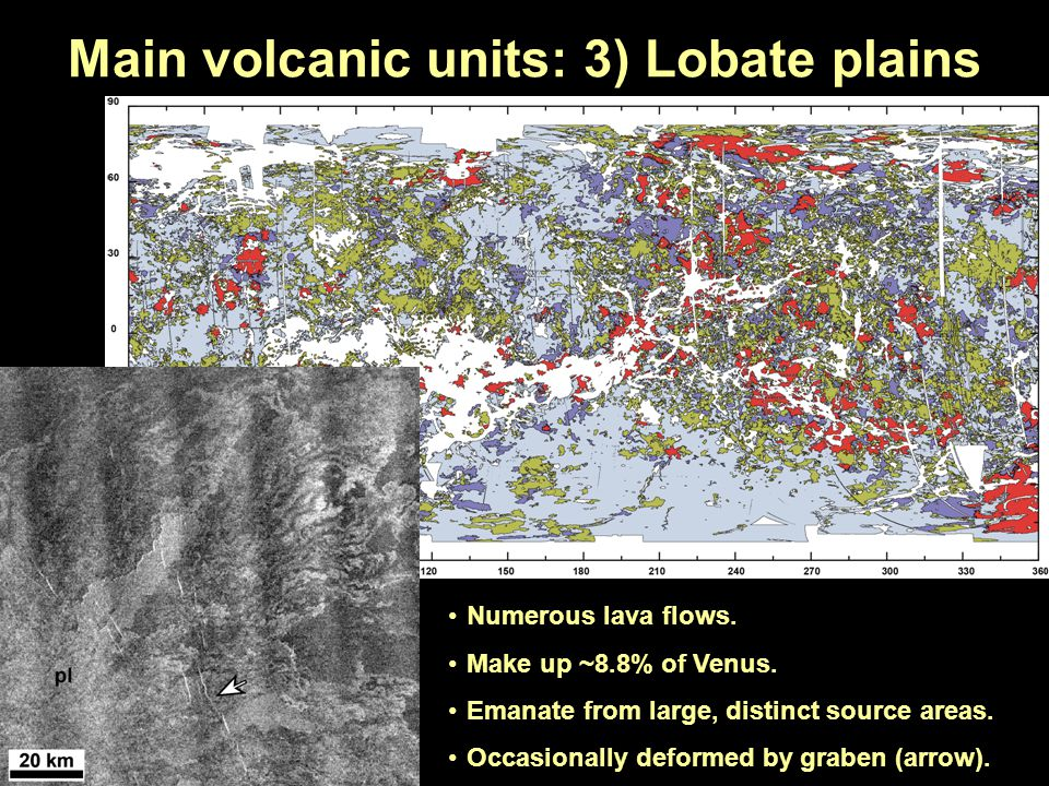 Main volcanic units: 3) Lobate plains Numerous lava flows. Make up ~8.8% of Venus. Emanate from large, distinct source areas. Occasionally deformed by