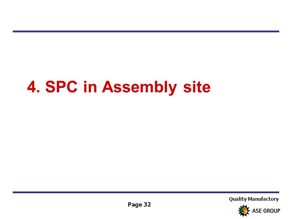 Quality Manufactory Page 32 4. SPC in Assembly site