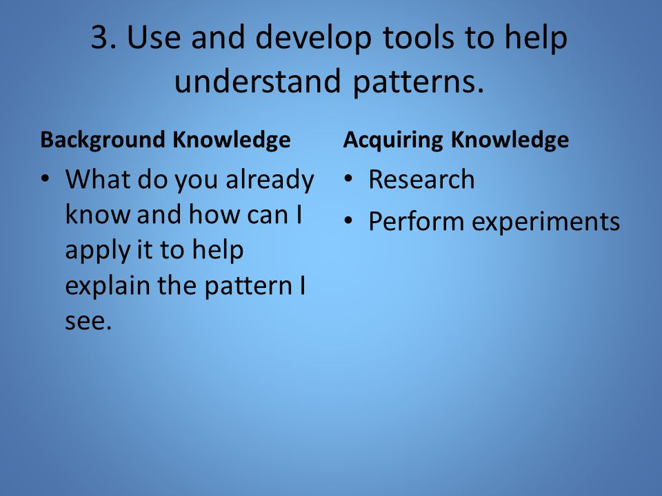 3. Use and develop tools to help understand patterns.