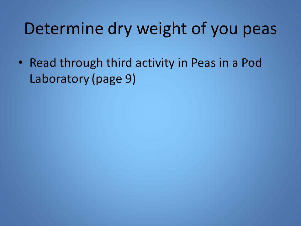Determine dry weight of you peas Read through third activity in Peas in a Pod Laboratory (page 9)