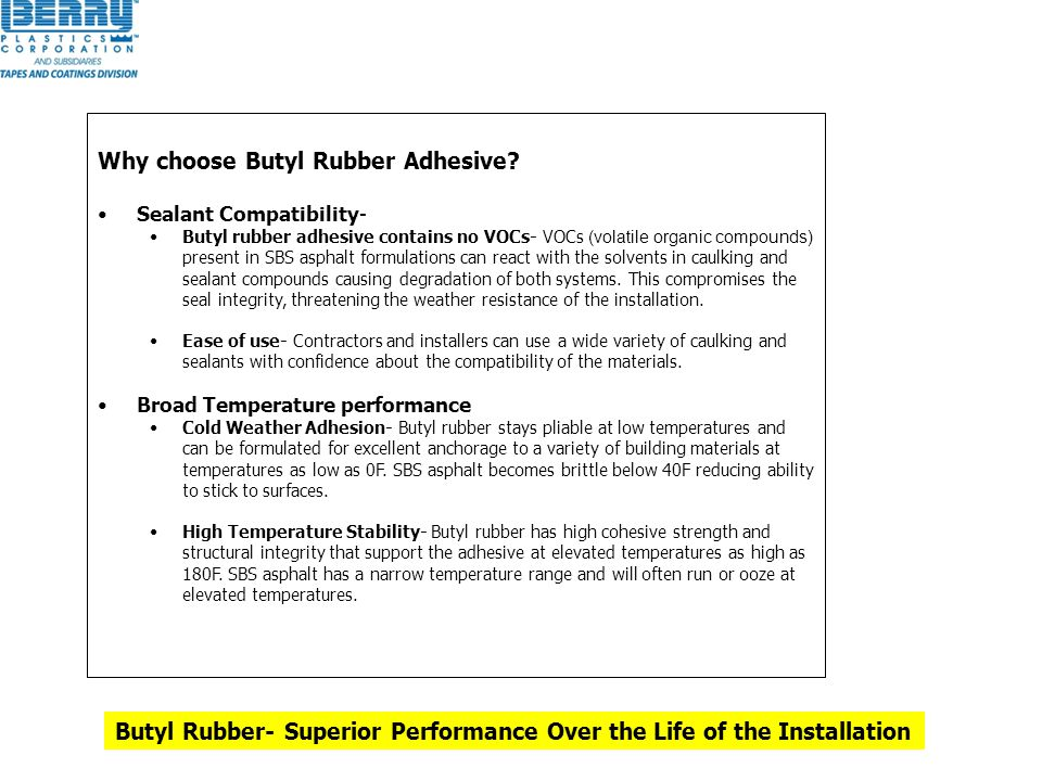 Why choose Butyl Rubber Adhesive? Sealant Compatibility- Butyl rubber adhesive contains no VOCs- VOCs (volatile organic compounds) present in SBS asph