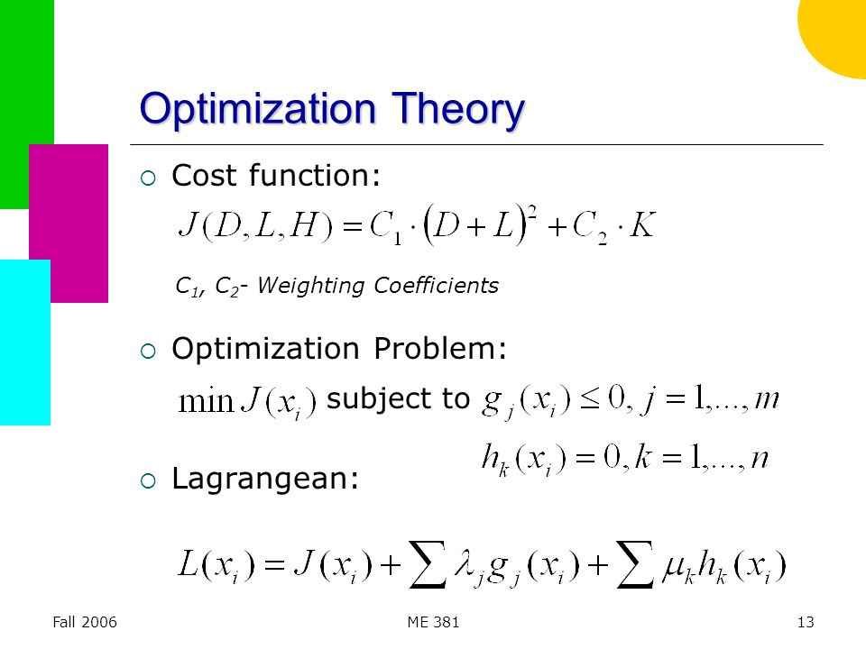 Fall 2006ME 38113 Optimization Theory  Cost function:  Optimization Problem:  Lagrangean: subject to C 1, C 2 - Weighting Coefficients