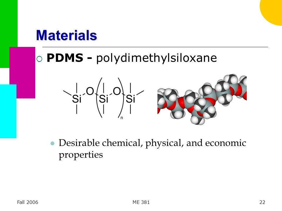 Fall 2006ME 38122 Materials  PDMS - polydimethylsiloxane Desirable chemical, physical, and economic properties