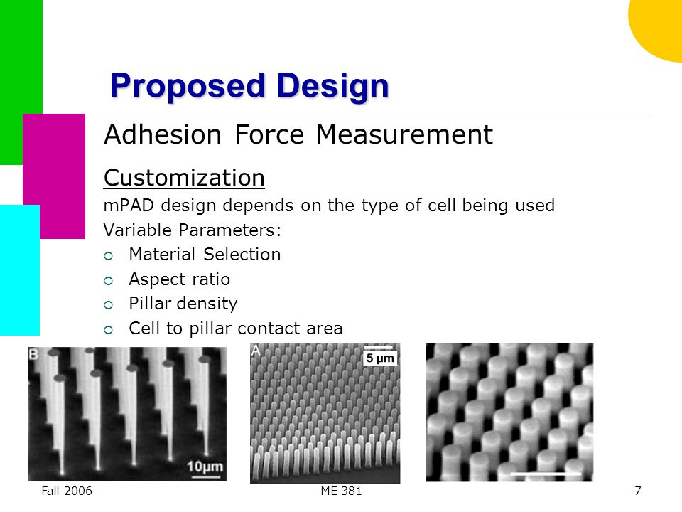Fall 2006ME 3818 Proposed Design mPAD Sensing  Pillar is modeled as a cantilever beam with uniform diameter  Pillar geometry, quantity of pillars per area, material choice can be modified to match known ranges of a cell's adhesion force  Force vector field shows magnitude and direction of discrete forces exerted by the cell on the array Adhesion Force Measurement