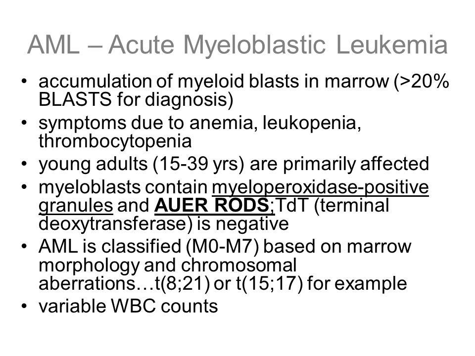 AML – Acute Myeloblastic Leukemia accumulation of myeloid blasts in marrow (>20% BLASTS for diagnosis) symptoms due to anemia, leukopenia, thrombocyto