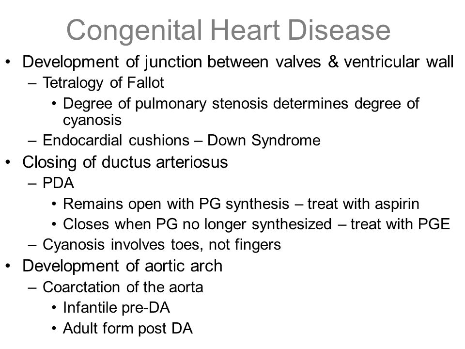 Congenital Heart Disease Development of junction between valves & ventricular wall –Tetralogy of Fallot Degree of pulmonary stenosis determines degree