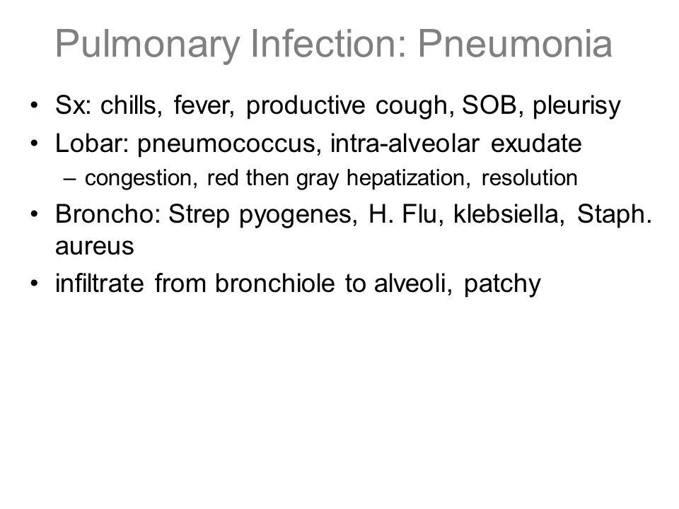 Pulmonary Infection: Pneumonia Sx: chills, fever, productive cough, SOB, pleurisy Lobar: pneumococcus, intra-alveolar exudate –congestion, red then gr