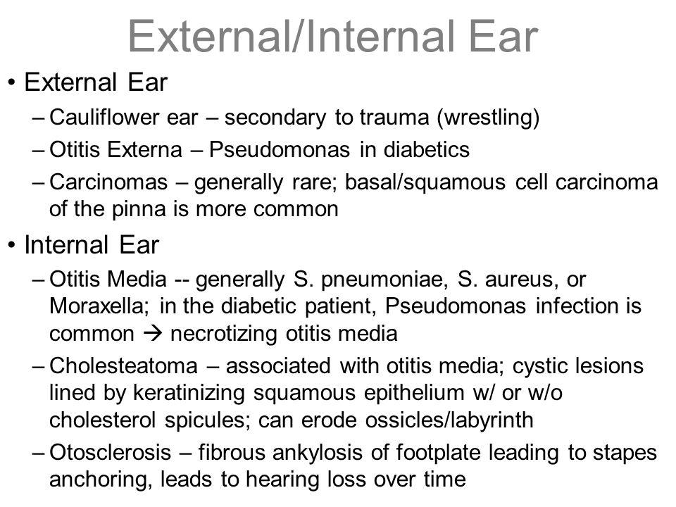 External/Internal Ear External Ear –Cauliflower ear – secondary to trauma (wrestling) –Otitis Externa – Pseudomonas in diabetics –Carcinomas – general