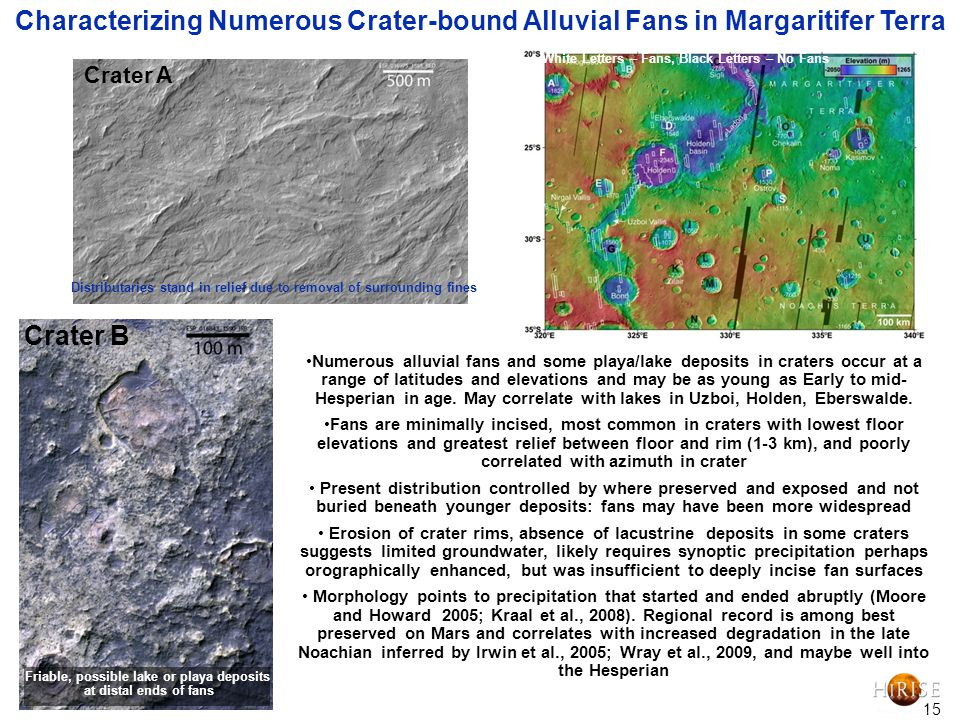 15 Characterizing Numerous Crater-bound Alluvial Fans in Margaritifer Terra Numerous alluvial fans and some playa/lake deposits in craters occur at a