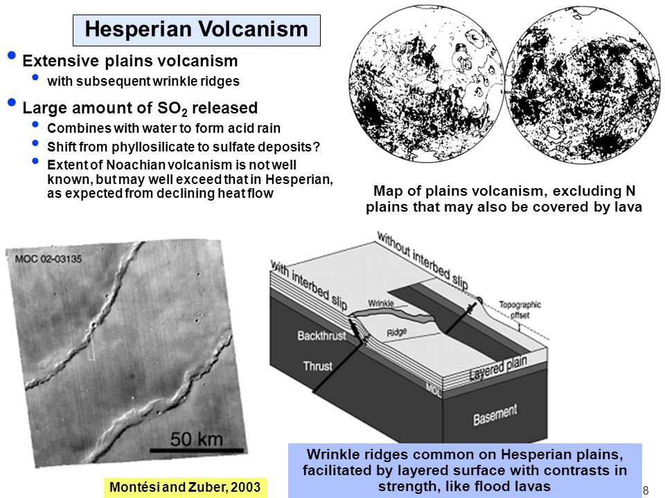 8 Extensive plains volcanism with subsequent wrinkle ridges Large amount of SO 2 released Combines with water to form acid rain Shift from phyllosilic
