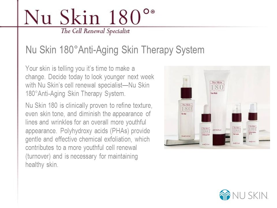 © 2001 Nu Skin International, Inc Nu Skin 180 ° Anti-Aging Skin Therapy System Your skin is telling you it's time to make a change.