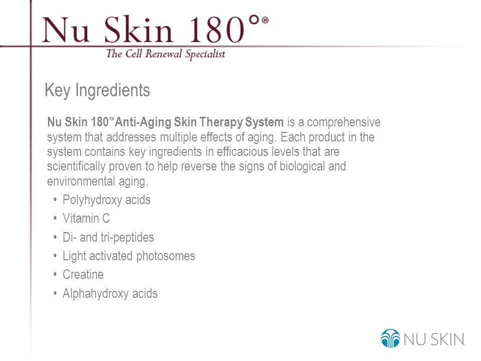 © 2001 Nu Skin International, Inc Key Ingredients Nu Skin 180°Anti-Aging Skin Therapy System is a comprehensive system that addresses multiple effects of aging.