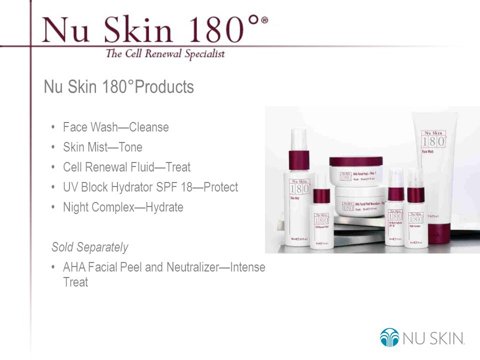 © 2001 Nu Skin International, Inc Nu Skin 180°Products Face Wash—Cleanse Skin Mist—Tone Cell Renewal Fluid—Treat UV Block Hydrator SPF 18—Protect Night Complex—Hydrate Sold Separately AHA Facial Peel and Neutralizer—Intense Treat