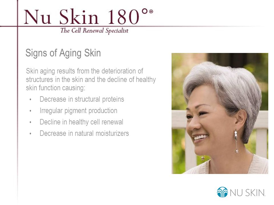 © 2001 Nu Skin International, Inc Signs of Aging Skin Decline in skin function leads to these visible signs of aging: Lines and wrinkles Loss of firmness Uneven skin tone and discoloration Rough texture Dull, sallow complexion Enlarged pores Dry skin