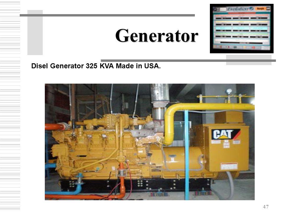 47 Generator Disel Generator 325 KVA Made in USA.
