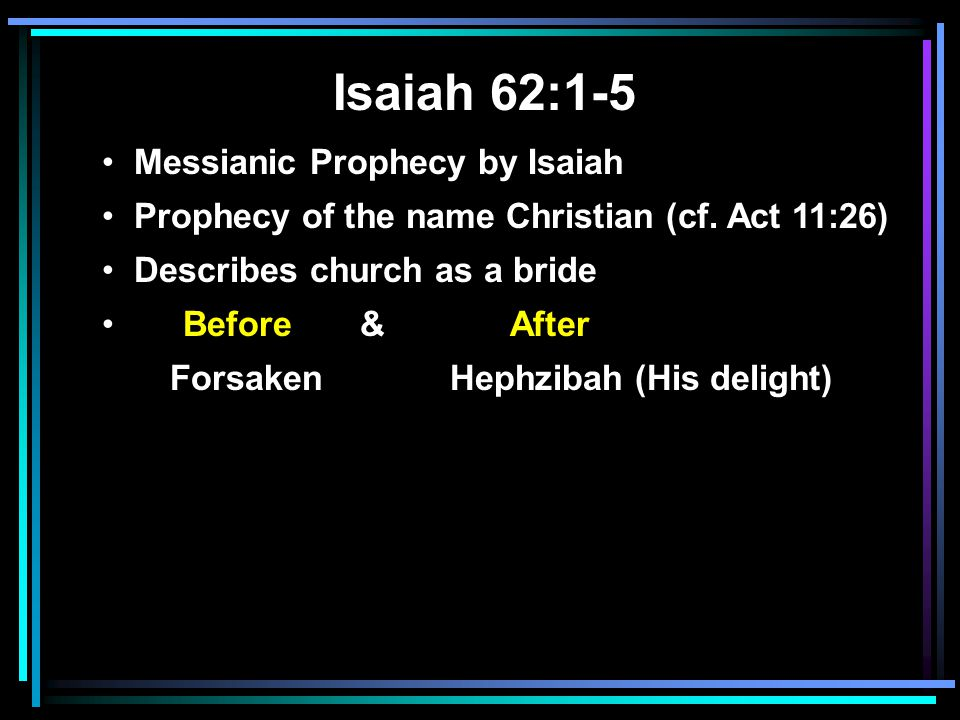 Isaiah 62:1-5 Messianic Prophecy by Isaiah Prophecy of the name Christian (cf.