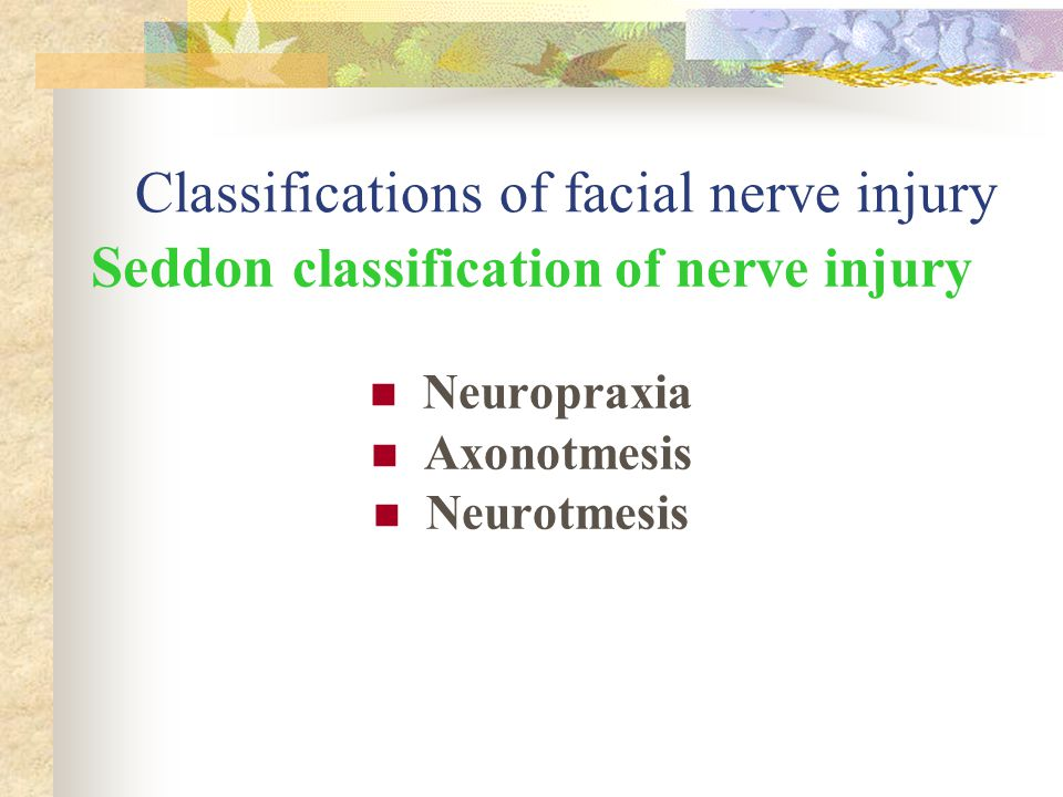 Classifications of facial nerve injury Seddon classification of nerve injury Neuropraxia Axonotmesis Neurotmesis