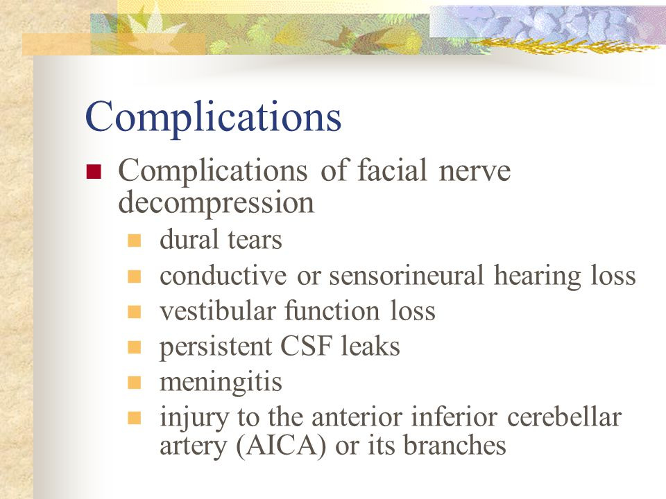 Complications Complications of facial nerve decompression dural tears conductive or sensorineural hearing loss vestibular function loss persistent CSF leaks meningitis injury to the anterior inferior cerebellar artery (AICA) or its branches