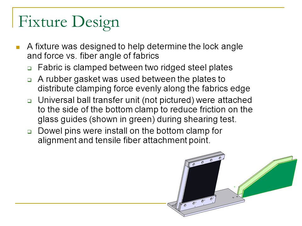 Fixture Design A fixture was designed to help determine the lock angle and force vs.
